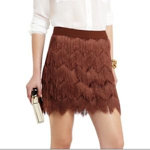 BCBGMAXAZRIA Brown Modie Crochet Fringe Skirt